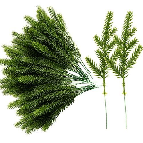 Alpurple 60 Packs Artificial Pine Needles Branches Garland-6.7x2.0 Inch Green Plants Pine Needles,Fake Greenery Pine Picks for DIY Garland Wreath Christmas Embellishing and Home Garden Decoration
