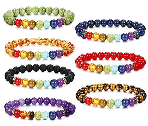 Besteel 7 Pcs Chakras Diffuser Bracelet for Men Women...