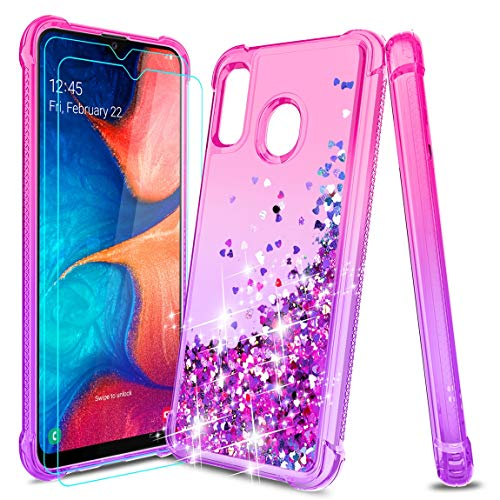 Tmacker Samsung Galaxy A20 Case,Galaxy A30/A20 Phone Case w/HD Screen Protector,TPU Glitter Liquid Quicksand Shockproof Protective Phone Cover for Girls Women (Pink/Purple)