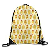 Etryrt Mochila de Cuerda,Bolsas de Gimnasia, Easter Egg Pattern Basic 100% Polyester Drawstring Backpack Fun Prints Secure Travel Bag 16x14 Inch For Adult