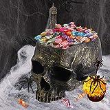 EveryMomentCounts Skull Candy Holder Bowl Artificial Resin Skull Head Skulls Decor Indoor Outdoor Flower Pot Plant Holder Office Pen Holder Desktop Ornaments - Bronze