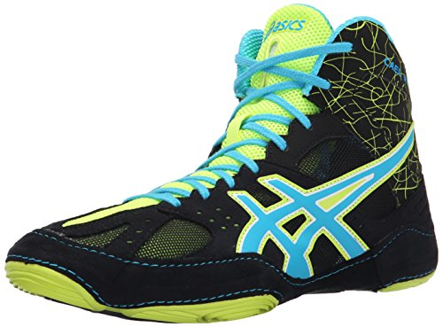 ASICS Men's Cael V6.0 Wrestling Shoe, Black/Atomic Blue/Flash Yellow, 11.5 M US