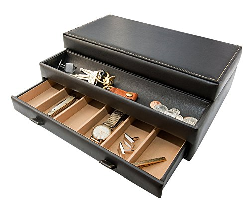 Product Image 5: Stock Your Home Watch Box with Valet Drawer for Dresser - Mens Jewelry Box with Multiple Compartments - Jewelry Case Display Organizer for Mens Jewelry Watches, Men's Storage Boxes Holder
