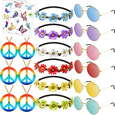 FOUR ITEMS in a PACKAGE—There are 4 different kinds of Hippie Accessories in one package, 6 different colors sunglasses, 6 peace sign necklaces, 6 different colors flower headbands and 2 glitter temporary tattoo stickers. You do not need to buy your ...