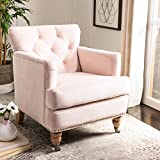 Safavieh Home Colin Blush Pink Velvet and White Washed Tufted Club Chair