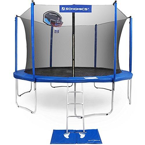 SONGMICS 15-Foot Trampoline with Enclosure Net, Basketball Hoop, Jumping Mat, Safety Pad, Ladder, Outdoor Backyard Trampolines, TÜV Certificated USTR15BU