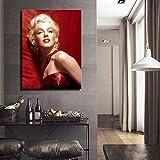 SADHAF Sala de estar Dormitorio Decoracin para el hogar Arte Marilyn Monroe Retrato Lienzo Pintura al leo Impresin Habitacin Mural A6 70x100cm