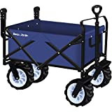 BEAU JARDIN Folding Push Wagon Cart Collapsible Utility Camping Grocery Canvas Fabric Sturdy Portable Rolling Lightweight Buggies Outdoor Garden Sport Heavy Duty Shopping Cart Wagons With Wheels