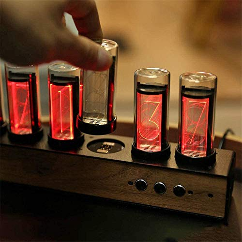PAKASEPT Tube Clock, LED Nixie Clock with Black Walnut Panel, LED Digital Clock with a USB Cable, Nixie Tube Clock Simulation, Magnetic Design, Gift for Kids, Husband