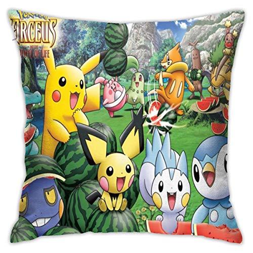 DailiH Pikachu y Sus Amigos Pokemon Fundas de cojín - Fundas de cojín Decorativas para el hogar Fundas de Cojines Cuadrados 18 x 18 Pulgadas con Dos Lados Impresos