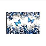 NOBRAND Pintura sobre Lienzo Wall Art Print Poster Mariposas Azules y Blancas Gypsophila Paniculata Imgenes Decoracin para el hogar 60x80cm sin Marco
