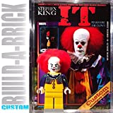 Build-A-Brick It Pennywise Clown Custom Mini Action Figure w/ Display Case, UV 2-Sided Custom Collectible Movie Poster Card & Stand - Gift for Boys Girls & Adult Vintage Toy Collector Horror Series