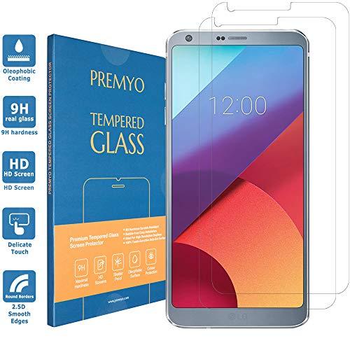 PREMYO 2 Pezzi Pellicola Vetro Temperato Compatibile con LG G6 Protezione Schermo Durezza 9H Bordi 2,5D Anti-Graffi Bolle Impronte