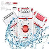 Epilator for Women,Budermmy 3 in 1 Rechargeable Hair Remover with Led Light,Electric Callus for Foot Care,Ladies'Razor for Arm,Bikini Line,Armpit,Leg,Back