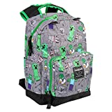 JINX Minecraft Overworld All Over Kids School Backpack, Gray, 17'