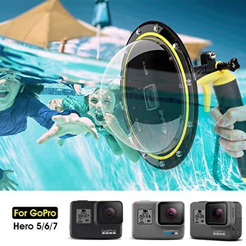 AuyKoo Custodia impermeabile Dome Port per GoPro Hero 7/6/5 Black, con custodia per obiettivo a bolle d'aria, accessori GoPro con Pistola e Presa Subacquea Fotografia Subacquea