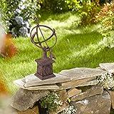 Relaxdays Gusseisen, antikes Design, wetterfest, Gartendekoration, H x B x T: ca. 36 x 17 x 14 cm, braun Sonnenuhr, - 7