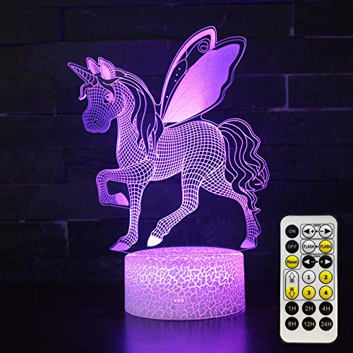 Unicorn Night Light for Kids - 3D Illusion Lamp Kids Night Light 7 Colors Changing with Timer & Smart Touch &...