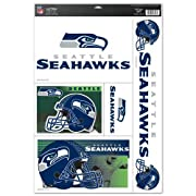 """Seattle Seahawks 11"""" x 17"""" Jumbo Ultra Decal Set. Can be used indoors or outdoors. Ultra decal sticks to multiple surfaces. Wincraft Made in USA. Officially licensed by the NFL."""