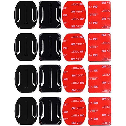 Gurxi 16 Pezzi Attacchi Adesivi Piatti e Curvi Staffa Adesiva per Casco Supporti Adesivi Piatti Casco Supporti Adesivi con Cuscinetti per GOPRO Action Camera Hero Session / 4/3/3 + / 2 Action Camera