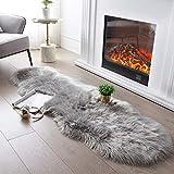 Ultra Soft Fluffy Rug Grey Faux Sheepskin Fur Area Rug Shaggy Couch Cover Seat Cushion Furry Carpet Beside Rugs for Bedroom Floor Sofa Living Room Runner, 2x6 Feet SERISSA (Sheepskin Shape,Light Grey)