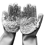 Cleaning Sponge Gloves, Silicone Reusable Cleaning Brush Heat Resistant Scrubber Gloves for Housework, Dishwashing, Kitchen, Bathroom, Dog Bathing, Car Washing, Window Cleaning. 1 Pair (13.6' Large)