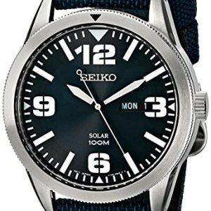 Seiko Men's SNE329 Sport Solar-Powered Stainless Steel Watch with Blue Nylon Band 32