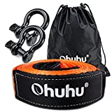 Ohuhu Heavy Duty Tow Straps Recovery Kit 3' x 20ft, 31,944 lbs Break Strength, Triple Reinforced Loop, Protective Sleeves, Tow Strap Heavy Duty with 3/4' D-Ring Shackles for Truck, Jeep, SUV, ATV