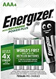Energizer Piles Rechargeables AAA, Recharge Power Plus, Lot de 4