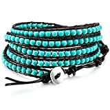 MOWOM Green Alloy Genuine Leather Bracelet Bangle Cuff Rope Simulated Turquoise Bead 5 Wrap Adjustable