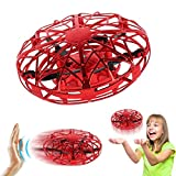 Joyfun Flying Ball Air Magic Hogs Mini Drones for Kids Hand Controlled RC Toy Helicopter UFO Cool Toys for Boys Girls Gifts with LED Lights Birthday Christmas Red