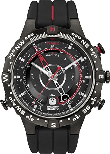 Timex Men's T2N720 Intelligent Quartz Tide Temp Compass Black Silicone Strap Watch