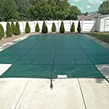 Happybuy Pool Safety Cover Fits 20x40ft Rectangle Inground Safety Pool Cover Green Mesh with 4x8ft Center End Steps Solid Pool Safety Cover for Swimming Pool Winter Safety Cover