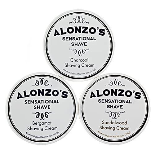 Alonzo's Shaving Cream For Men 3-Pack (Sandalwood, Charcoal,...