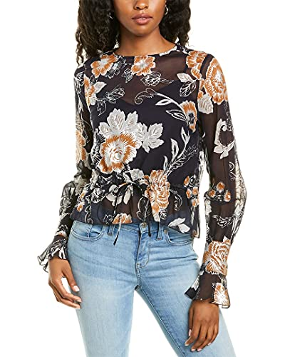 51mTMAdnXSS. SL500 About the brand: 70s-inspired romantic style. Silk-Blend Top in multicolor blue with sheer metallic floral design, button cuffs with ruffle trim, and drawstring waist Approximately 19in from shoulder to hem