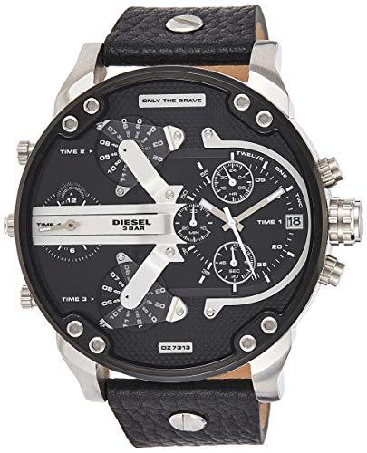 Diesel Herren Analog Quarz Uhr mit Leder Armband DZ7313