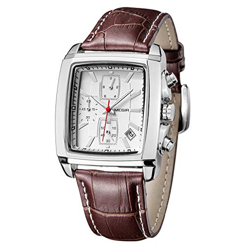 MEGIR Orologi Uomo Sportivi Orologio Quadrato Uomo Vintage Cronografo Orologi Rettangolari Classico al Quarzo