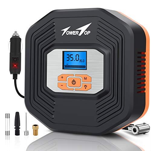 TowerTop Auto Luftpumpe, 12V Luftkompressor, tragbare elektrische Reifen Inflator Kompressor mit LED Bildschirm und LCD Display für Auto, Fahrrad, Motorrad, Ball