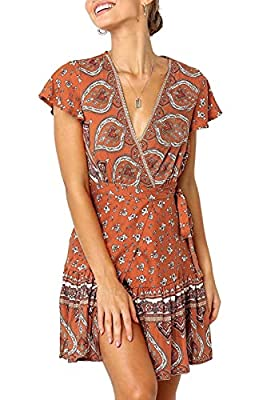 """S=US 4-6, M=US 8-10,L=US 12-14,XL=US 16,XXL=US 18 Tips:1.If you have a large chest,Choose one size up; 2.Wearing Suggest:with underwear Calling all Boho loves, you need our """"Amazing Grace Dress"""" in your wardrobe.WRAP STYLE DRESS--Deep V Neck,Cap slee..."""
