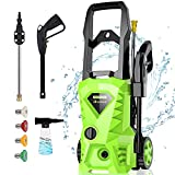 Homdox 1.72GPM Pressure Washer 1500W Electric Power Washer with 4 Nozzles,Longer Cables and Hoses,for Cleaning Cars, Driveways, Garden (Green)