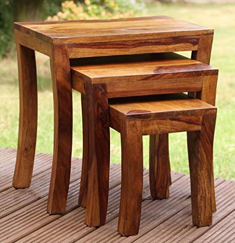 MODWAY Sheesham Wood Nesting Tables Set of 3 Stools for Living Room (Honey Finsih)
