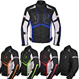 Motorcycle Jacket For Men Textile Motorbike Dualsport Enduro Motocross Racing Biker Riding CE Armored Waterproof All-Weather (Blue, Medium)