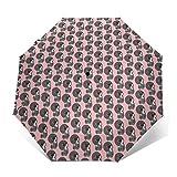 Kimono Paraguas de papel de aceite para mujer plegable automático, tres pliegues, resistente al viento, transparente