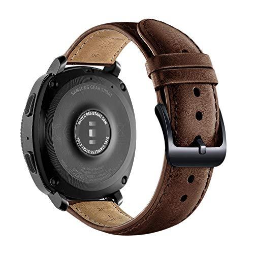 Pulseira de Substituição de Couro, 20mm, Compatível com Samsung Galaxy 46mm/Gear S3 Frontier/S3 Classic/Huawei Watch GT/GT 2