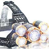 Soft Digits Headlamp, 5 LED Headlight, USB Rechargeable Head Lamp Flashlight, 4 Modes Waterproof Zoomable Light for Outdoors, Household