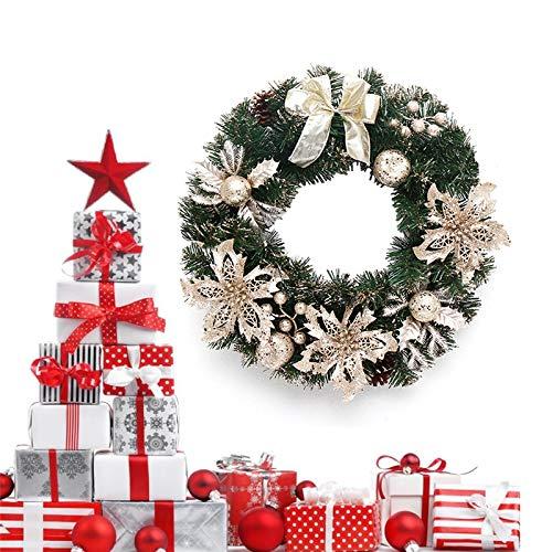 ZWPARTS Guirnalda de Navidad para puerta de entrada de 40 cm, guirnalda de Navidad para puerta y ventana colgada en la pared, adornos ideales para la decoración interior y exterior