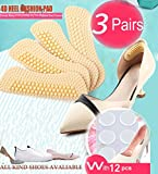 Heel Cushion Inserts,Heel Pads,Too Big Inserts Shoes Cushion 4D(3pairs) Gel Spot(12pcs) high Heel Inserts (Beige)