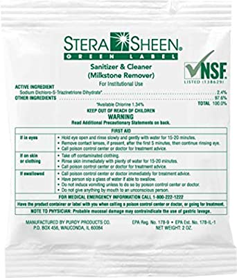 Stera Sheen Green Label Sanitizer and Cleaner - A Multi-functional food grade cleaner: cleans ice cream machines, batch freeezers, cappuccino machines, iced tea dispensers, smoothie blenders and more. Safe for all food contact surfaces Your order wil...