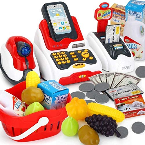 Famous Quality Toy Cash Register for Kids with Checkout Scanner, and Food Shopping Play Money and Food Shopping Play Set(Plastic,Multi color, Pack of 1 set)