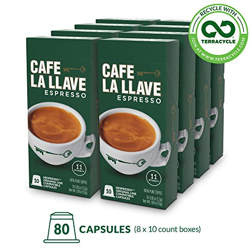 Caf La Llave Espresso Capsules, Intensity 11-Recylable Coffee Pods (80 Count) Compatible with Nespresso OriginalLine Machines